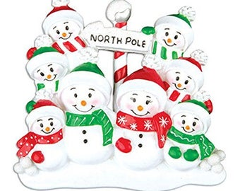 North Pole Family of 8 Personalized Christmas Ornament