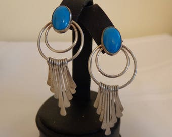 Sterling Silver and Turquoise Dangle Stud Style Earrings for Pierced Ears