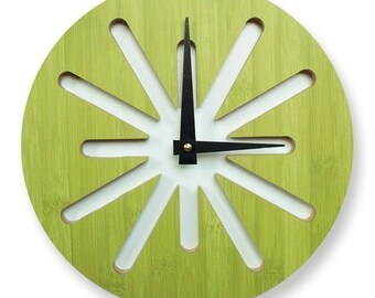 10in Green Splat Bamboo Wall Clock  20% OFF