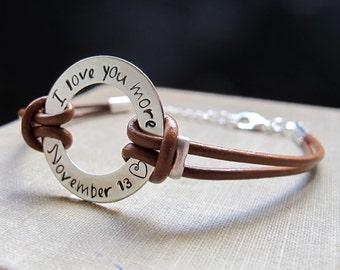 Mens Personalized Bracelet. Adjustable Leather Bracelet. Washer Engraved Bracelet. Dad Bracelet. Fathers Day Gift. Mens Bracelets. Mens Gift