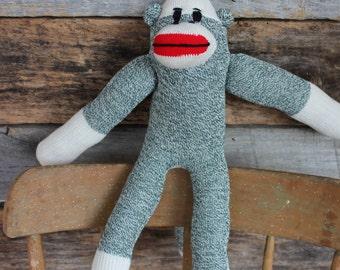 Handmade Green Sock Monkey, Sock Monkey Doll, plush kids toy, stuffed animal