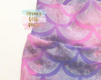 Mermaid- Fish Scale Hologram Girls Leggings, Mermaid Birthday Party Outfit, Toddler Leggings, Mermaid Tail, Siren Leggings