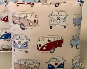 "Camper Van Cushion retro cushion hipster van illustration campervan split screen pillow Handmade 16"" Blue Cream Red"