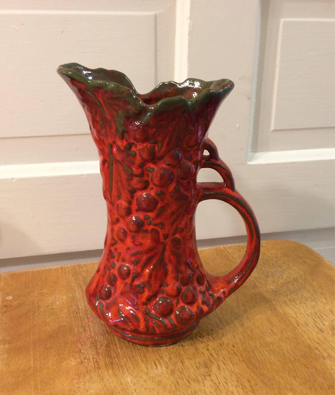 Vintage mccoy 641 ewer vase grape pitcher redorange and description vintage mccoy ewervasepitcher reviewsmspy