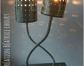 """""""cheese cake"""" metal upcycled lamp"""
