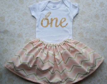 Baby girl first birthday outfit,1st birthday clothes,Photo prop,Gold,Pink chevron,Cake smash,Onesie,Skirt,Dress, Indian, Feather,Wild one
