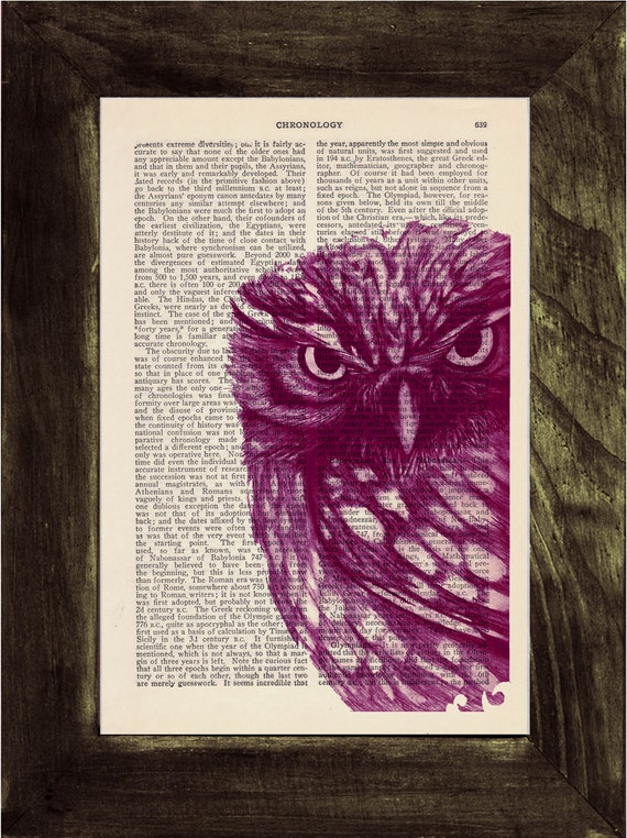 Owl Dictionary page book art print Magenta Owl Print on Vintage Book dictionary page illustration book print BPAN026