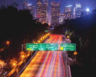 Downtown Los Angeles Photography Print Cityscape Night 110 Freeway California Fine Art Wall Art Decor | Also Available on Canvas or Metal