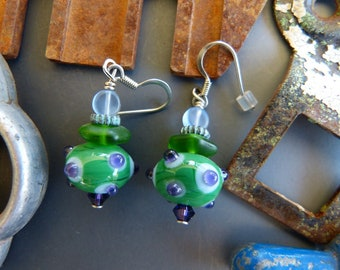 Purple and Green Lampwork Glass Bead Earrings