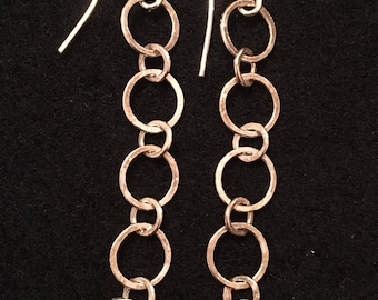 Fused and hammered fine silver chain earrings 5 loops
