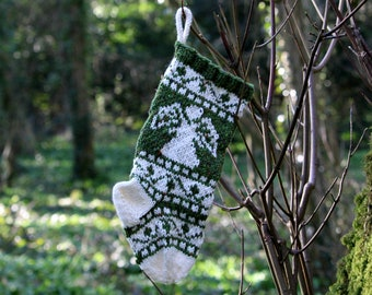 Small Angel Knit Christmas Stocking, Wool Stocking, Fair isle knit, Holiday Stocking, Xmas ornament - ready to ship grwh