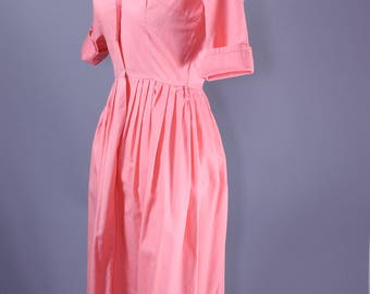 1950s Peach Dream Shirt Dress