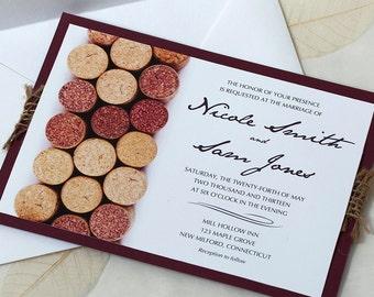Wine Cork Wedding Invitation, Vineyard Wedding Invitation, Wine Wedding