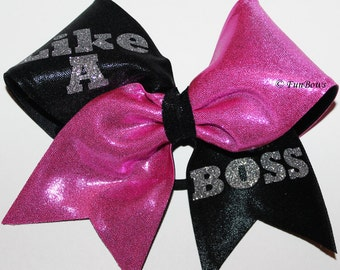Like a Boss Cheerleading Hairbow custom by Funbows