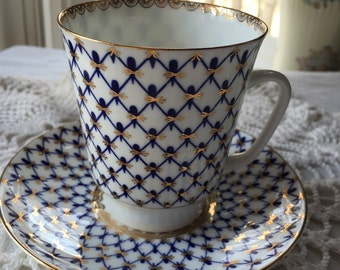 Teacup and Saucer Set made in Russia Cobalt Net