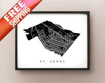 St. Johns Neighborhood Map Print - Portland, Oregon