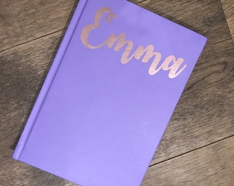 Personalised Lilac and rose gold a5 Hardback lined paper notebook