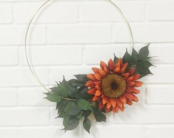 Fall Wreath, Modern Wreath, Fall Door Wreath, Hoop Wreath, Door Wreath, Sunflower Wreath, Home Decor, Front Door Wreath, Wreath