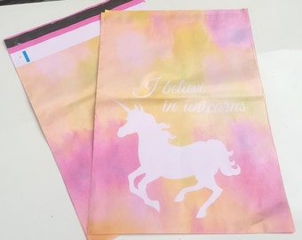 """50 / 75 / 100 Pink UNICORN PRINT 6""""x9"""" Flat Poly Mailers Postal Package Envelopes Bags"""