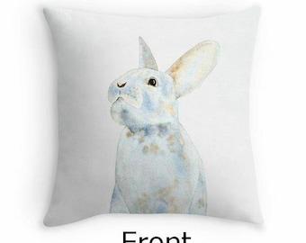 Watercolor Bunny Pillow Cover, Rabbit Decor, Rabbit Pillow, Bunny Decor, Nursery Pillow, Nursery Decor, Blue Bunny, Watercolor Rabbit