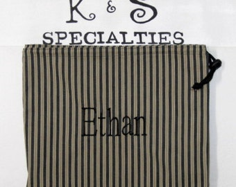 Personalized Monogrammed Laundry Bag Made With Black and Taupe  Stripes-A Great Gift