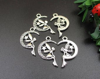 10Pcs 25x15mm Silver Angel Charms,Moon and Angel Pendants-P1285-B