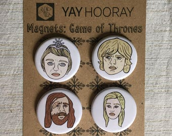 Game of Thrones, pin button badges, magnets hand drawn illustrations, Cersei Lannister, Tyrion Lannister, Sandor Clegane, Daenerys Targaryen