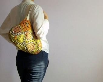 Mustard Crochet granny square bag,Crochet squares hobo bag, eco mothers day