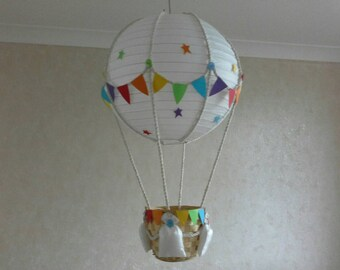 Hot air balloon nursery light shade with winnie the pooh add your own toy hot air balloon nursery light shade made to order aloadofball Images