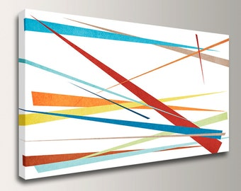 """Modern Canvas Art - Colorful Wall Decor - Abstract Canvas Art - """" Slivers """""""