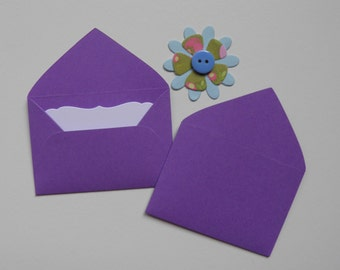 Purple Mini envelopes with inserts, Paper ephemera, Paper embellishments, Journaling, Project Life, Little party favors, Sets of 10, 25, 50