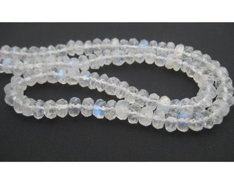 White Rainbow Rondelles - 5mm Faceted Round Rondelles - 14 Inch Strand