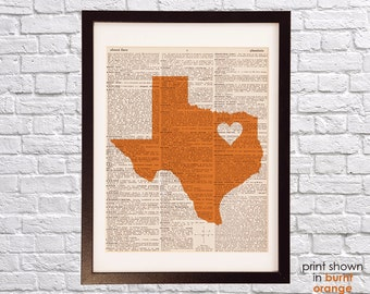 Dallas Texas Dictionary Print - Dallas Art - Print on Vintage Dictionary Paper - Texas Longhorns Burnt Orange - Texas Art
