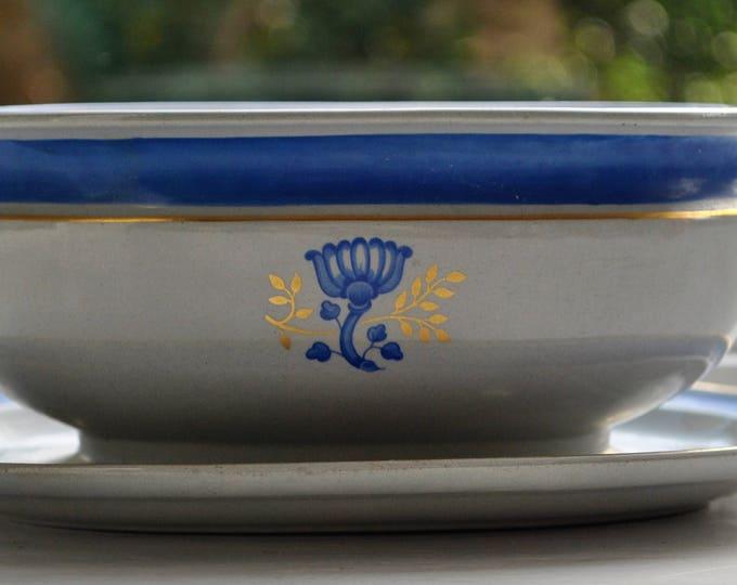 Swedish Gustavsberg Wilhelm Kage Aristokrat Blue Bowl Gustavian