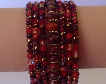 Red Jasper, Crystal, glass, metal beads memory wire bracelet.