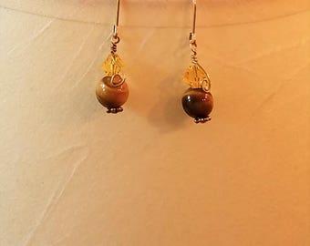 Earrings Tigereye & Swarovski Crystal on 12kt Gold Fill Earwires