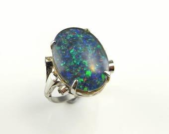 Opal Triplet Ring Opal Triplet Cabochon Vintage Opal Ring Australian Opal Ring Estate Opal Ring Fiery Opal Ring Blue Rainbow Silver Ring