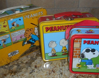 Snoopy / Peanuts Vintage Metal Lunch Box + 2 More Smaller Lunch Box's