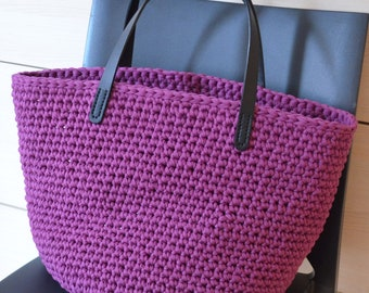 Crocheted shopper bag with leather handles, Tote bag, Trendy Plum Shopper