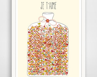 Children's Wall Art / Nursery Decor Je T'aime Jar of Hearts print by Finny and Zook