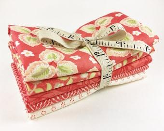 Fig Tree Fabric Bundle - Hazel and Plum Fabric - Red -  Fat Quarter Bundle - 5pc - Moda Fig Tree Quilts Fabric