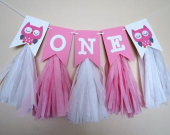 Owl with Tassels High Chair Banner - 1st Birthday - ONE Banner