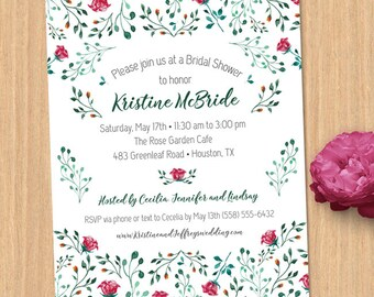 Watercolor Rose Garden Bridal Wedding Shower Invitation; Printable, Evite or Printed (US Only) Invitation