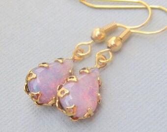 Gold Opal Earrings, Pink Fire Opal Earrings, Pink Opal Earrings, Vintage Teardrop Opals, Opal Jewelry, Fire Opal Jewelry, Gold Teardrop Opal