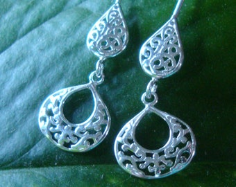Earrings  solid silver filigree teardrop dangles with hooks, leverback, post/studs -pear, tear- solid sterling silver from recycled sources