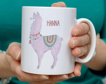 Llama personalised mug - this relaxed and colourful llama mug makes a unique and witty gift. Playful, quirky and personalised gift for her