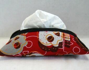 Skulls Tissue Case Pocket Size Tissue Holder Red