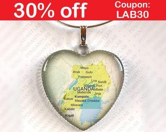 Uganda Map Pendant, Necklace, Jewelry, Charm, Gift, Heart, Travel, Africa, Kampala, Kira, Mbarara, Mukono, Gulu, Nansana, Masaka, Kasese