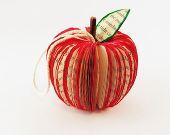 Book Ornament | Apple Ornament | Teacher Appreciation Gift | 3D Book Art | Christmas Ornament | Paper Fruit | Recycled Book| Book Lover Gift
