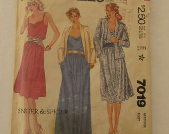 McCall's #7019 Misses Dress and Jacket Pattern 1980, Uncut, Draped Neckline, Elastic Waistline, Two Lengths